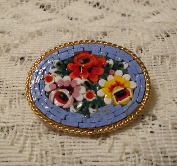 Vintage Micro Mosaic Hand Painted Pin Made in Italy
