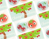 Button Badges Magnets Cherry Strawberry (1 inch / 25 mm)