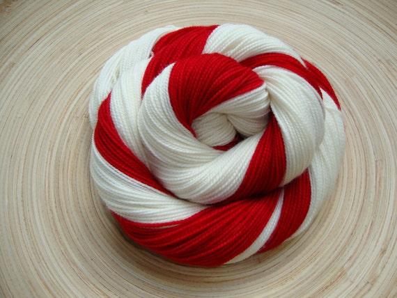 Peppermint Twist in Toula Sock, Self Striping, 80/20 SW Merino and Nylon, Fingering Sock Weight