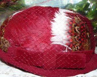"Mid-Century Vintage ""Flapper Cloche Style Ladies Hat"" Garnet Red Wine Elaborate Feathers by Picardy France"