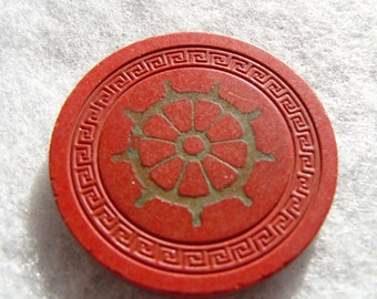 Vintage Harveys Casino Lake Tahoe Obsolete 1940's Clay Pilot Wheel Roulette Poker Game Chip