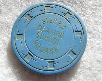 Rare Clay Training Chip Sierra Square Dealing School Now Closed Highly Collectible Casino Industry