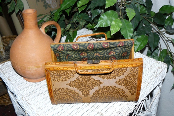 Vintage Lunch Box Purse Structured and Durable with Tropical Island Bamboo Styling