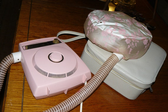 Vintage Pink Hat Box Hair Dryer Sears Appliance Carry On Travel Case Wig Extentiions Nail Dryer