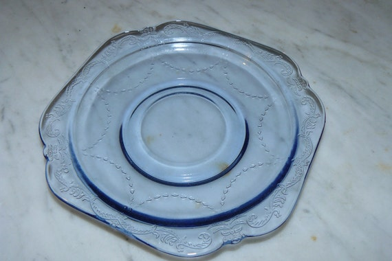 Vintage Plate Clear Blue Antique Federal Depression Glass