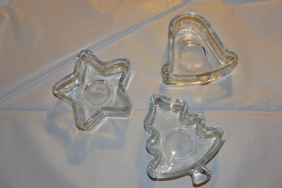 made in USA Vintige Set of 3 Tea Light Candle Holders Glass Christmas Tree Bell and Star