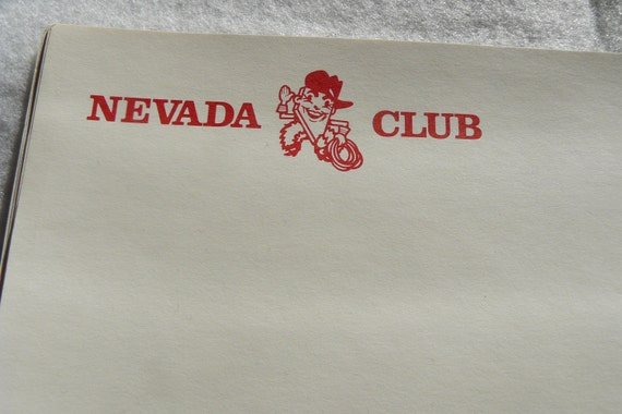 Rare Vintage Logo Sheet from Nevada Club Casino Reno Closed Obsolete 1970's