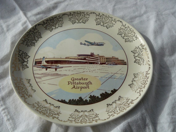 Vintage1956 Greater Pittsburgh Airport Ovenproof Plate USA Taylor Smith Versatile