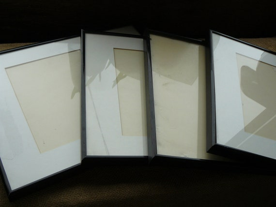 4 Metal Picture Frames w/Glass Very Good Museum Used Condition 14 x 11