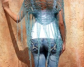 Sunna - Unique Turquoise Textured Yarn Long Fringes Shrug by Eva Bella