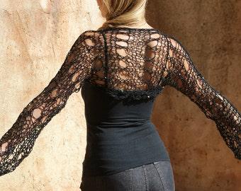 Freya - Sexy Black Knit Sequin Shrug by Eva Bella