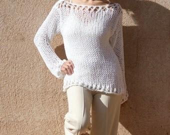 Deverra - Snow White Off The Shoulder Lace Knit Custom Sweater by Eva Bella Boutique