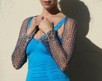 Ajaya- Sexy Smoked Blue and Silver Long Sleeve Shrug By Eva Bella