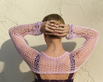 Lilia- Sexy, Pink, Purple, Fitted, Lace, Knit, Shrug, Handmade, Women's Knitted Shrug, Sheer, By Eva Bella Boutique