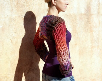 Inanna - Wearable Art  Multi-Color Red Pink Brown Shrug by Eva Bella