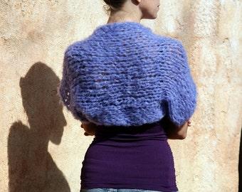 Moneta Mia - Luxuriously Soft Fuzzy Purple Short Sleeve Shrug By Eva Bella
