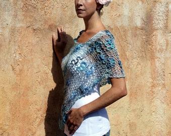 Ariannea - Artsy Blue Lace Poncho by Eva Bella
