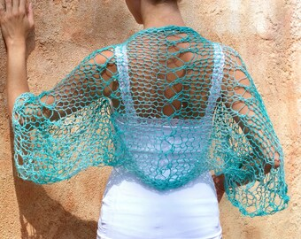Aine - Ethereal Aqua lace Knit Sequin Shrug by Eva Bella