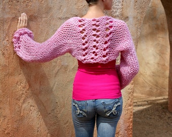 Rumina, Luxuriously Soft, Pink, Lace, Bulky, Thick, Warm, Sweater, Shrug, Cover,  Wide Sleeve, Thick, Hand Knitted, Knit, Eva Bella Boutique