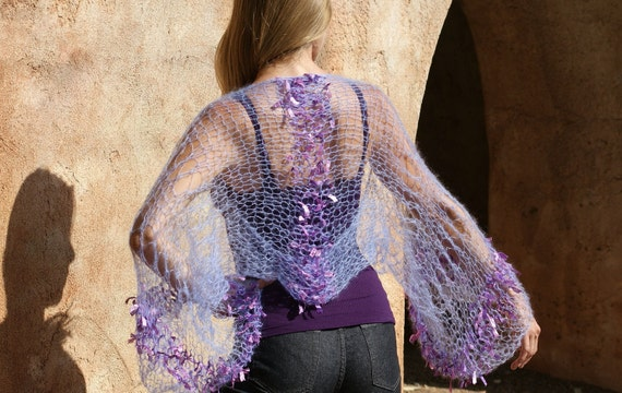 Sale Aditi 2 -  Silk Kid Mohair with ribbon Shrug in Lilac by Eva Bella READY TO SHIP