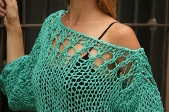 Hnossa - Off The Shoulder Sweater Emerald Lace Knit Sweater  New Fall Collection by Eva Bella Made To Order