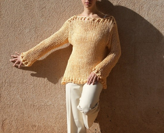 Nortia- Yellow Lace Hand Knit Off The Shoulder Sweater Custom by Eva Bella Boutique