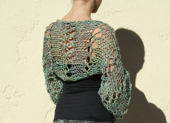 Anaitis- Exclusive Tri-Color Green and gold Knit Shrug By Eva Bella READY TO SHIP