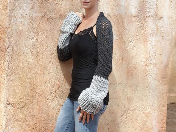 Elian - Charcoal Grey Light grey Chunky Sweater Shrug by Eva Bella Boutique
