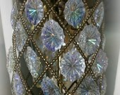 Reserved for gounc1010 Vintage 3 light Brass and Crystal Hanging Pendant Light Lamp Chandelier