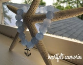 Light Sapphire Beaded Bracelet with Anchor Charm