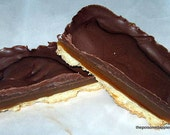 Homemade Twix Bar, caramel chocolate and shortbread