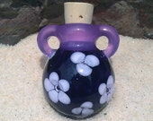 Glass Perfume Bottle Necklace - For Her - Handmade Purple Flowered Lampwork Vessel on Satin Cord