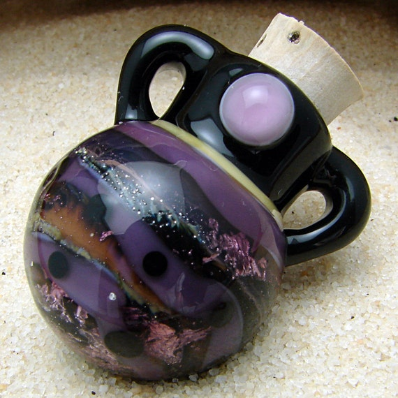 Miniature Perfume Bottle Pendant Hand Blown Glass Vessel for Aromatherapy and Scented Oil