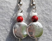 Hammered Silver and Crimson Earrings