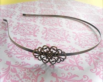 1 - Adjustable Floral Filigree Headband Base Blank - Jewelry Supply - 34mm x 26mm - Antique Brass