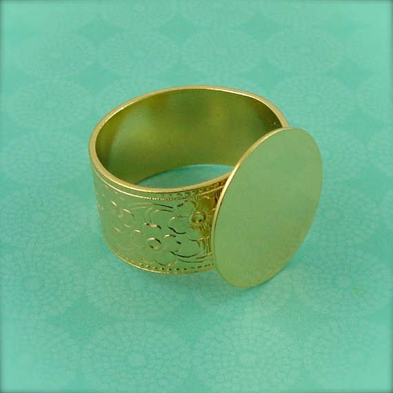 1 - Adjustable Ring Base Blank - Jewelry Supply - 10mm Floral Band - 16mm Pad - Gold Plated