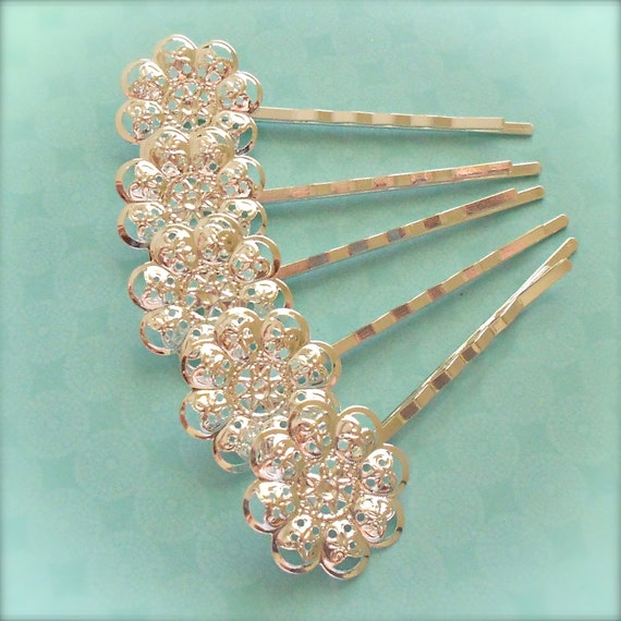WHOLESALE - 100 pieces Filigree Hair Bobby Pin Base Blank for Cabochons - 23mm Pad - Silver Plated