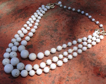 Vintage Three Stranded White Faux Pearl necklace