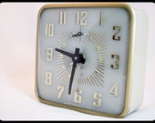 vintage 50s Gilbert  wind up alarm clock 40 hours deco square Mid-century gold white mod