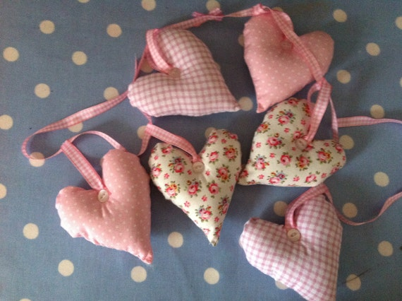 Pink heart garland with pink gingham ribbon