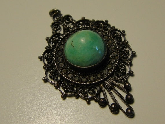 Vintage Filigree Glass Pendant