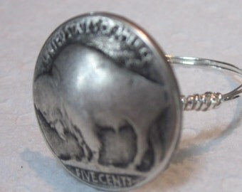 Buffalo Nickel Coin Pewter Button Ring, Button Ring, Wire Wrapped