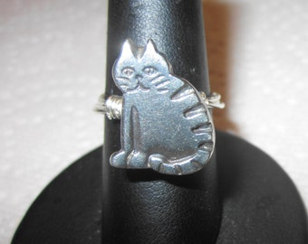 Cat Pewter Button Ring, Wire Wrapped
