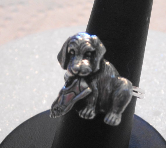 Puppy with Shoe Pewter Button Ring