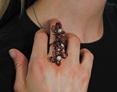 Large Beaded Wire Wrapped Ring