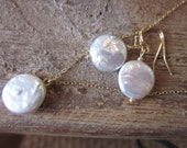 Freshwater White Coin Pearl Jewelry SET - Necklace Earrings - 12mm Coin Pearls on Gold Filled Chain and Earwires