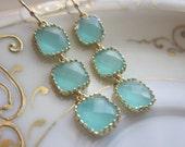 Aqua Blue Mint Earrings Gold Plated - Three Tier Squares - Bridesmaid Earrings - Bridal Earrings - Bridesmaid Jewelry - Mint Wedding Jewelr