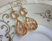 Champagne Peach Earrings Pink Gold Twisted Design - Bridesmaid Earrings Wedding Earrings Valentines Day Gift