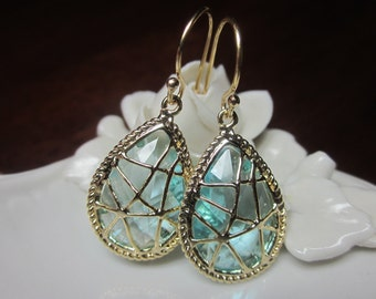 Blue Aquamarine Earrings Gold - Bridesmaid Earrings - Bridal Earrings