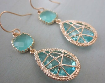 Aquamarine Blue Earrings Twisted Design - Bridesmaid Earrings Wedding Earrings Valentines Day Gift